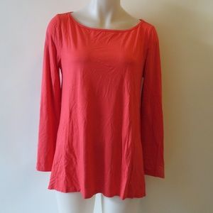 ST. JOHN CORAL LONG SLEEVE STRETCH OVERSIZE TOP M